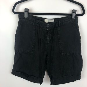 Joie Anthropologie grey linen Bermuda shorts
